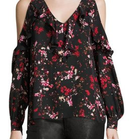 Parker Roland Floral Print Ruffled V-Neck Cold Shoulder L/S Blouse