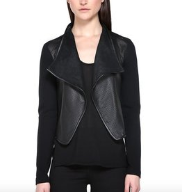 Mackage <li>Color: Black<br /><li>Fits true to size<br /><li>Fitted silhouette<br /><li>Cropped length<br /><li>Mixed media jacket<br /><li>Jersey sleeves, side panels and back<br /><li>Perforated leather collar and front body<br /><li>Coat length from shoulder to hem: 17.25inches / 43.8cm<br /><li>She