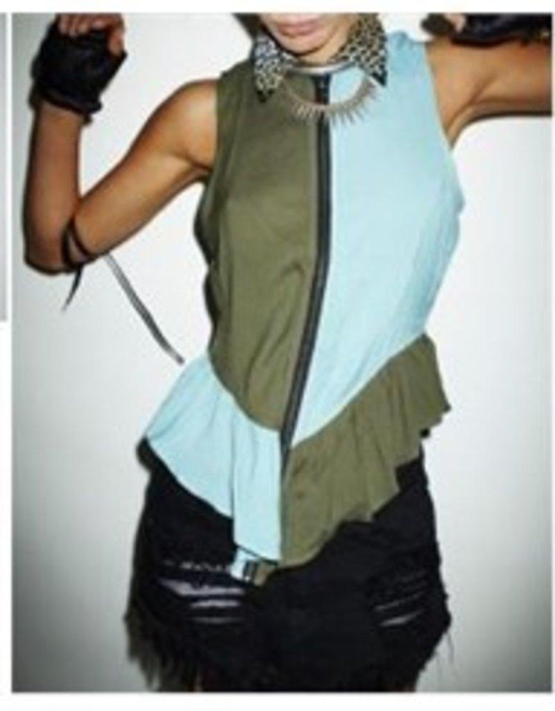 One Teaspoon Pretty Vegas colorblock zip-up front cheetah collar slvls top