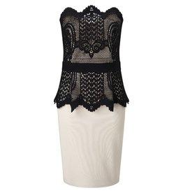 Contrast Lace Applique Front Sweetheart Neck Peplum Bandeau Dress
