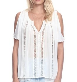Heartloom Doria Front V-Neck Buttons Cold Shoulder S/S Lace Trim Top