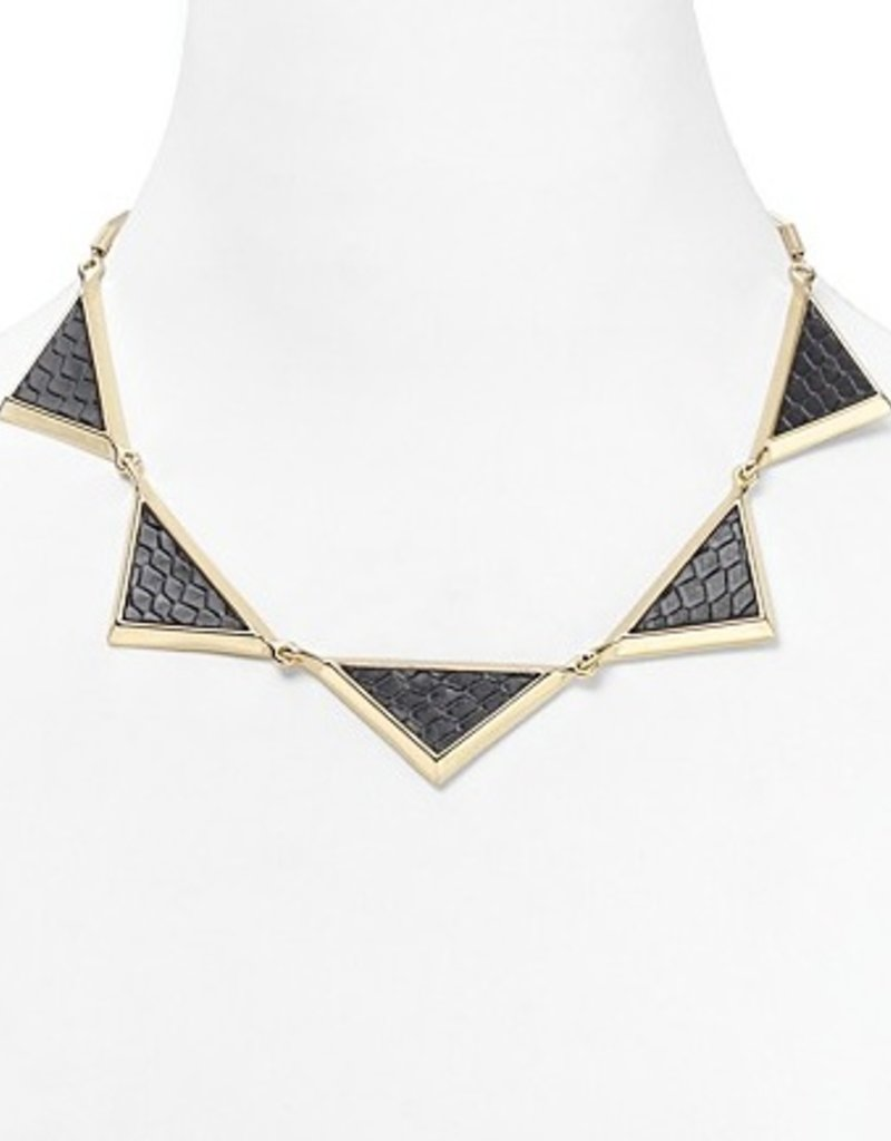 House of Harlow Black snake print leather triptych collar necklace