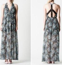 Love Sadie Boho Ditsy Floral Lace Back Cutout Detail Halter Maxi Dress