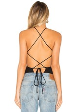 Privacy Please Amble Halter Neck Criss Cross Open Back Straps Rib Bodysuit
