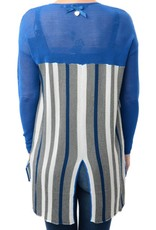 Silvian Heach Albergoni Stripe Open Front Mesh Knit Cardigan w/ Center Back Slit
