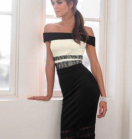 Lipsy Colorblock Lace Panels Bardot Dress