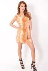 SYLK Georgina snake print drape front & button back details slvls crew neck dress