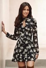 Lipsy Floral Print Keyhole Front Mock Neck Lace Back Sheer L/S Dress