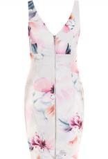 Lipsy Floral Print Double V Belted Waist Slvls Shift Dress