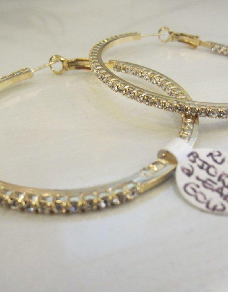 """Romeo + Juliet 2"""" half inside+out rhinestone hoop earrings in GOLD"""
