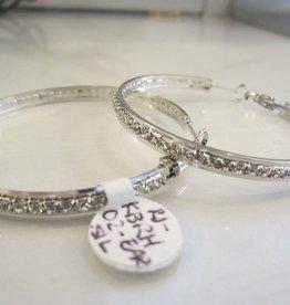 "Romeo + Juliet 2"" rhinestone hoop earrings in SILVER"