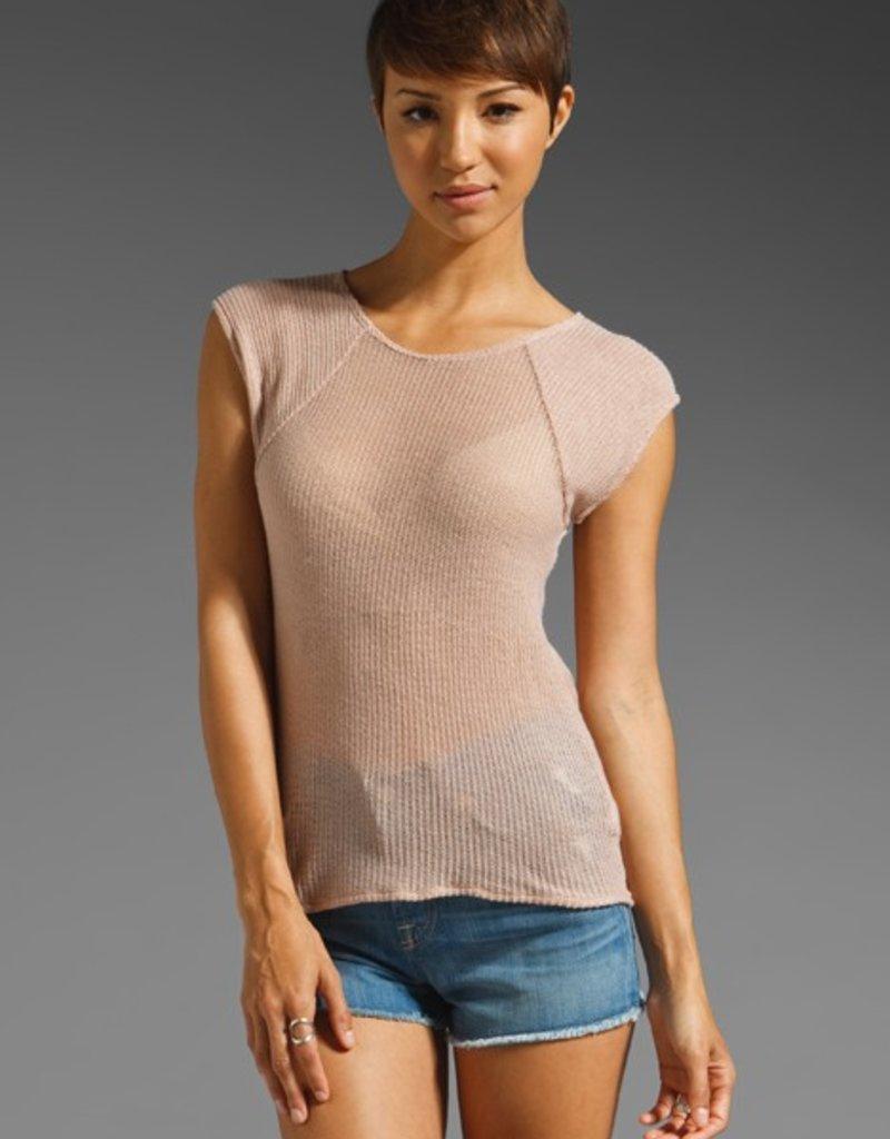 Fluxus Nadia cap sslv crew neck open back gauze knit sweater
