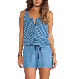 Splendid Indigo Dye Stripe & Chambray half button placket front scoop neck slvls drawstring elastic waist romper