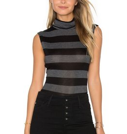Twenty Sweater Knit Luxe Stripe Sleeveless Turtleneck Bodysuit