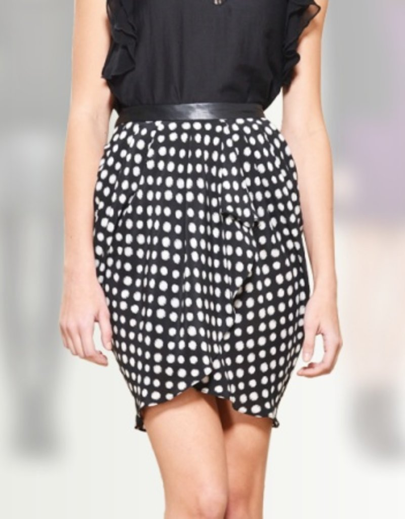Greylin Dizzy Dot silk ruffled skirt w/ faux leather waist band