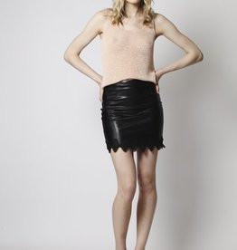Goldie London Summit - Leather Skirt with Diamond Trim