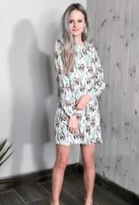 Darling Amethyst Floral Print Crew Neck Long Sleeve Tunic Dress