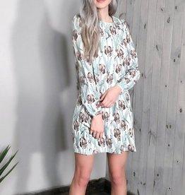 Darling Amethyst Floral Print Crew Neck L/S Tunic Dress
