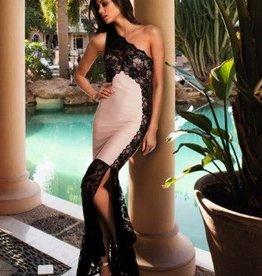 Lipsy Nude One Shoulder Lace Bandage Maxi Dress