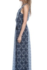 Heartloom Charia Mosaic Print Slit Tie Front Maxi Dress