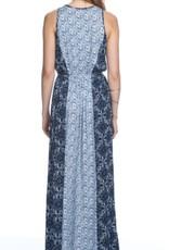 Heartloom Charia Mosaic Print Slit Tie Front Maxi Dress