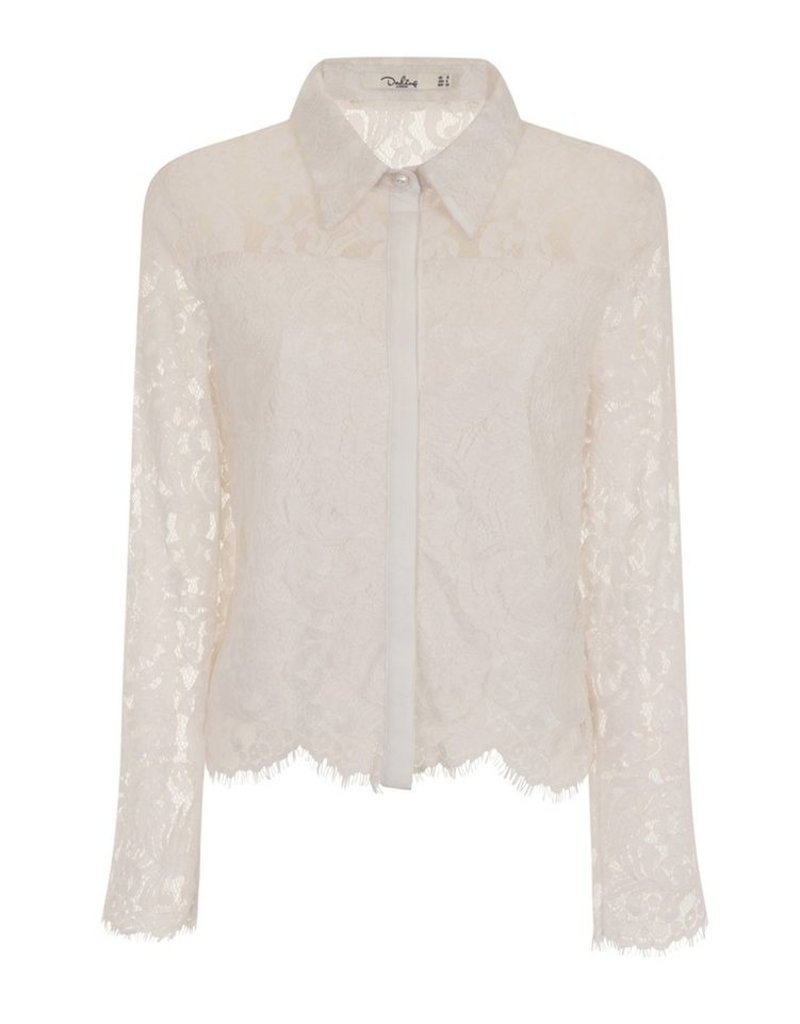 Darling Sibylla Floral Lace Collared Button Down Blouse Top