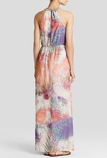 Charlie Jade Ava Palm Tree Print Embellished Georgette Maxi Dress