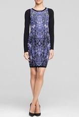 Charlie Jade Size S Colorblock speckled snake-like print crew neck lslv knit sweater dress