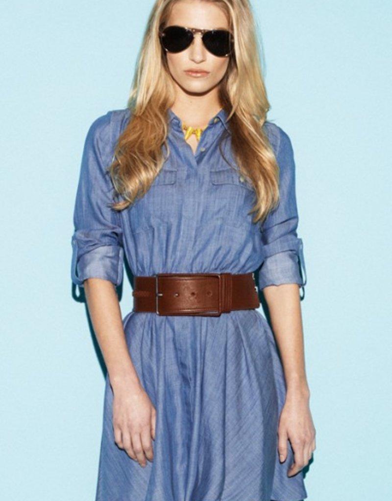 Greylin Miller hidden button placket front cuffed tab slv tencel enzyme washed & sanded denim pocket shirt dress