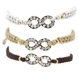 Blee Inara Macrame Swarovsky Infinity Brown Bracelet