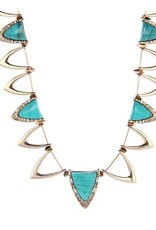House of Harlow Goddess Trinity collar triangle cutouts necklace w/ pyramids beads and turquoise inlays