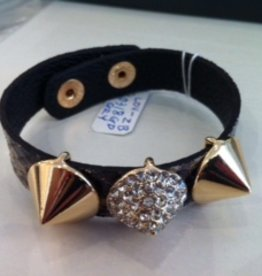 Loviea GREY snakelike leather w/ 3 gold spikes