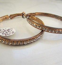 """Romeo + Juliet 1.5"""" rhinestone hoop earrings in ROSE GOLD"""