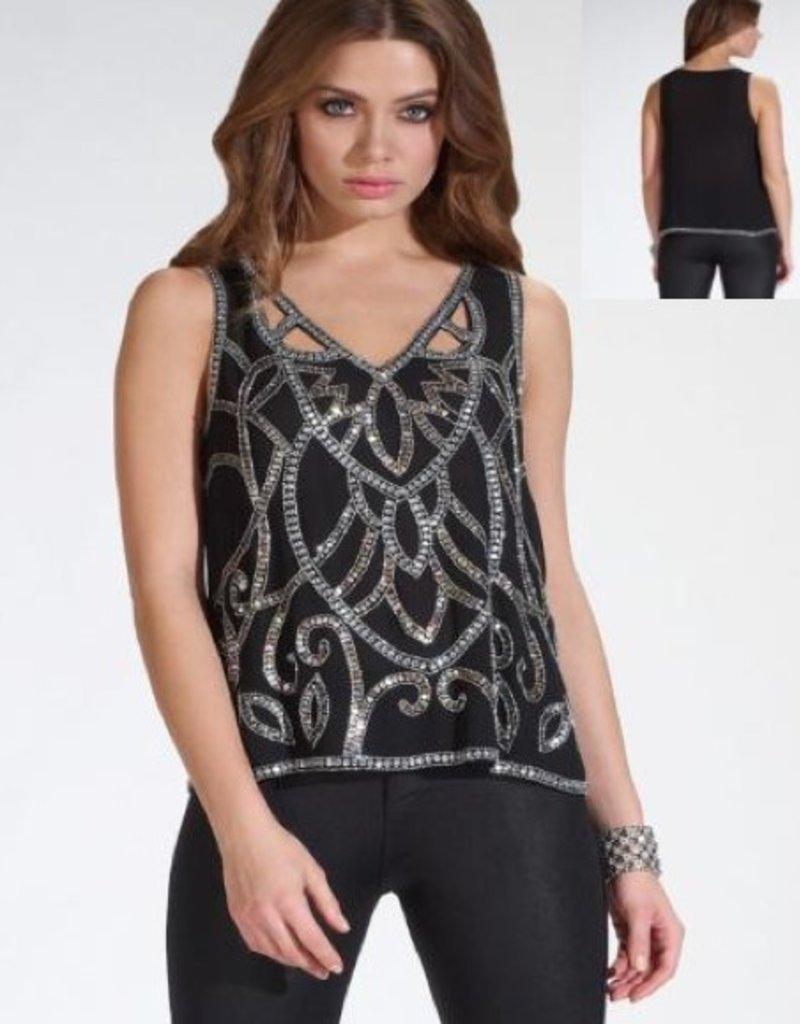 Lipsy Cutwork embellished v-neck slvls vest top