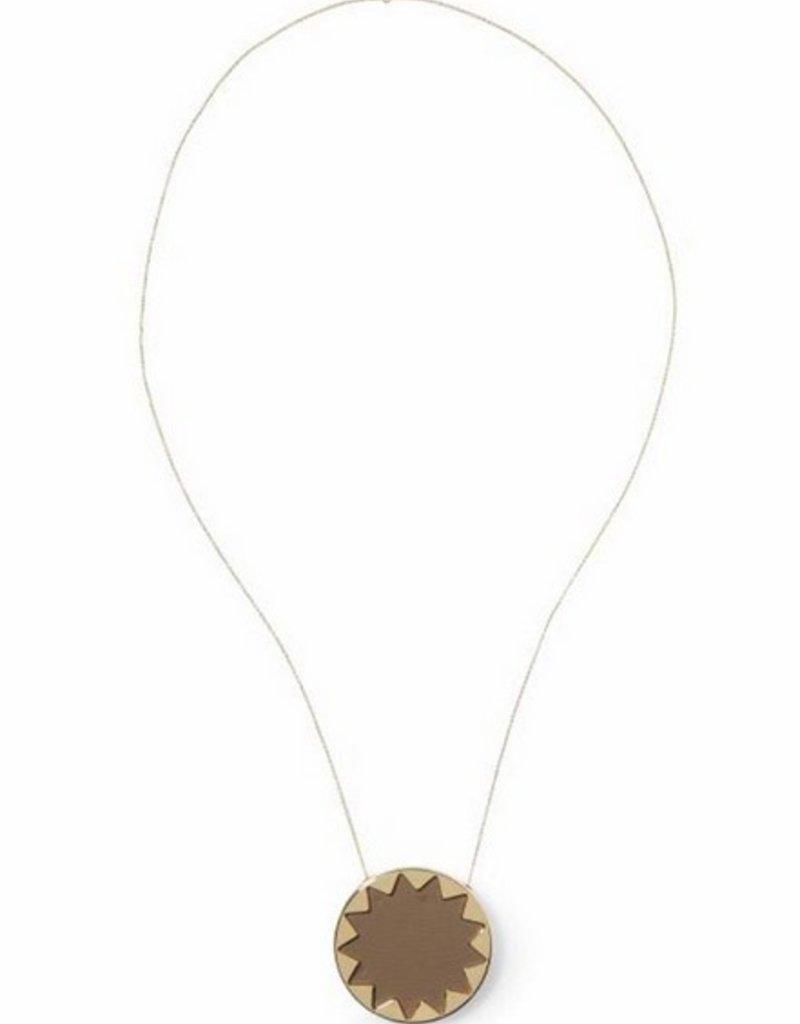 House of Harlow KHAKI leather large sunburst pendant on chain necklace