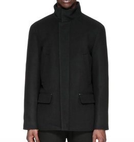 Mackage Wilfred Flat Wool Coat w/ Wide Band Collar