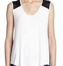 Red Haute &lt;li&gt;U neckline<br />&lt;li&gt;Sleeveless<br />&lt;li&gt;Semi-sheer mesh panels<br />&lt;li&gt;About 26&quot; from shoulder to hem&lt;li&gt;Self: 95% Viscose, 3% Spandex&lt;li&gt;Contrast: 97% Viscose, 5% Spandex<br />Made in USA