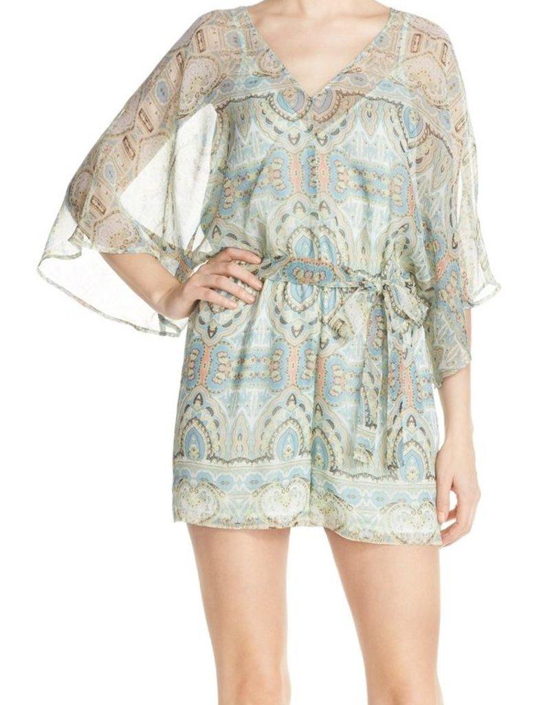 604ac0b5c10 Charlie Jade Paisley Print V-Neck Kimono Sleeve Silk Chiffon Romper - Romeo    Juliet Clothing Ltd.