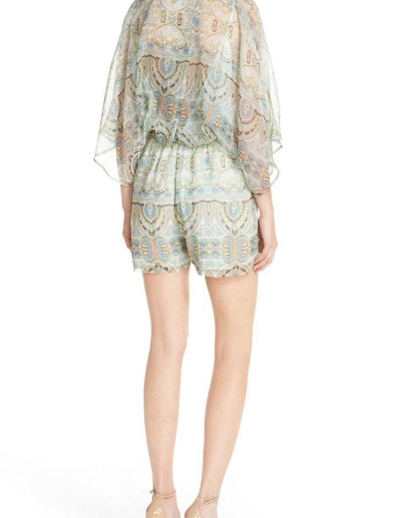 e9cb6f2c063 ... Charlie Jade Paisley Print V-Neck Kimono Sleeve Silk Chiffon Romper ...