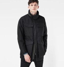G-Star <li>Color: Black<br /><li>Slim fit<br /><li>Snap and zip closure<br /><li>Concealed hood<br /><li>Top and side entry hand pockets<br /><li>Longwearing twill<br /><li>Soft and comfortable<br /><li>Fabrication: Coated Lias Twill<br /><li>65% Polyester, 35% Cotton