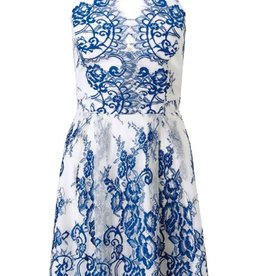 Lipsy Lace Applique Halter V-Neck Back Cutout Slvls Prom Dress