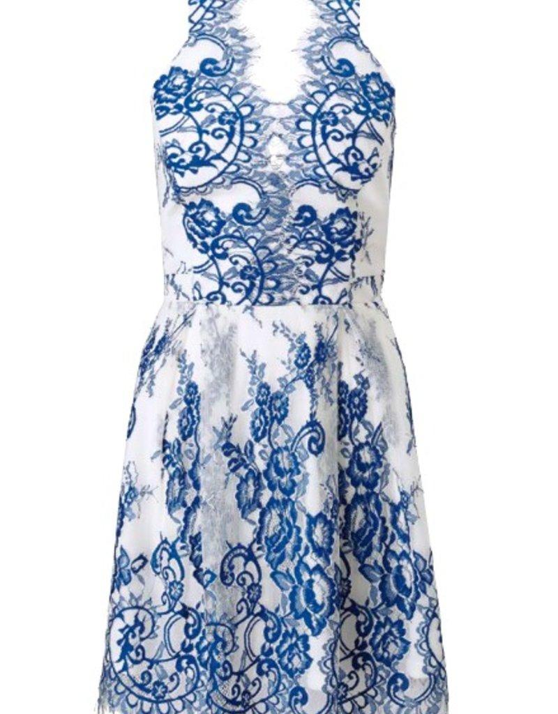 Lipsy Lace Applique Halter V-Neck Back Cutout Slvls Prom Dress