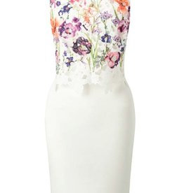 Lipsy Floral Lace Tiered Front Bodice Crew Neck Low V Back Slvls Bodycon Dress