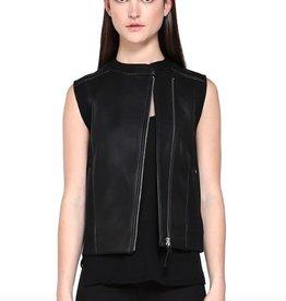 Mackage <li>Color: Black<br /><li>Fits true to size<br /><li>Semi-fitted silhouette<br /><li>Cropped at the hip<br /><li>Double face jersey side panels and back body<br /><li>Asymmetrical front zip closure<br /><li>Dual front zip pockets<br /><li>Nickel hardware<br /><li>Shell (Woven): 100% Polyester<br /><