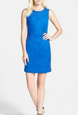Greylin Moscow Size S perforated texture blocking suede crew neck slvls dress