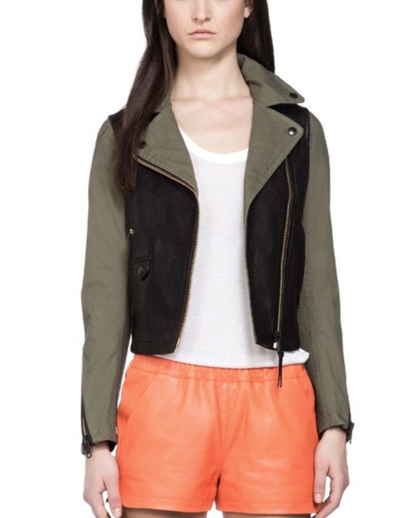 Mackage Minella asymmetrical zip front contrast leather bodice & back yoke short biker distressed look jacket
