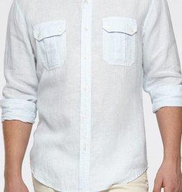 Vince Stripe linen patch pocket button up dress shirt