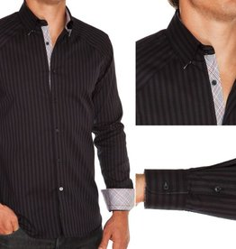 Stone Rose Two-tone stripe dress shirt w/ gry & red plaid trimd