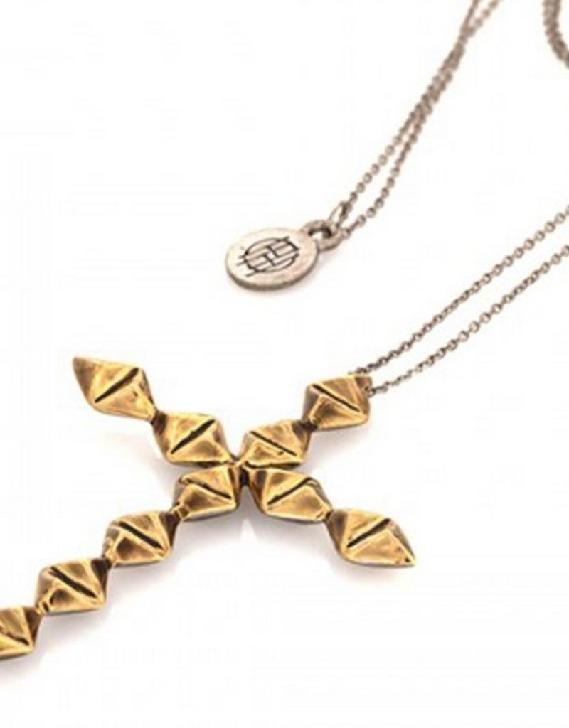 House of Harlow Double sided diamond cross pendant necklace