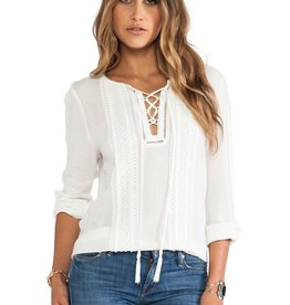 Greylin Roseli lace trim tie up front closure neckline lslv blouse top